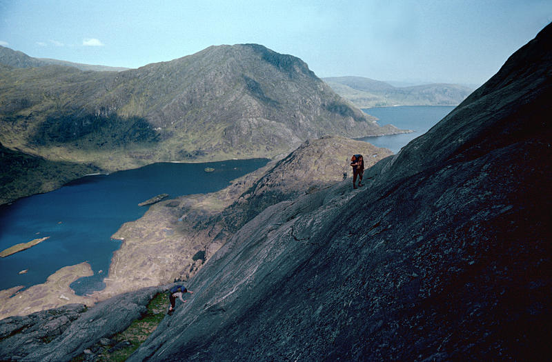 Upper part of the Dubh Slabs, Coruisk, Sgurr na Stri and the sea