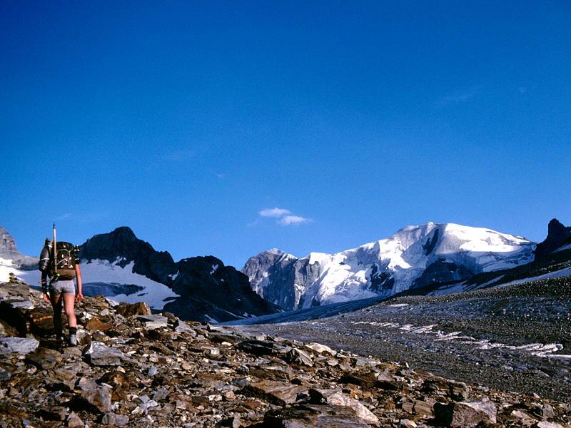 Towards the Bouquetins hut, via the Haut Glacier d'Arolla
