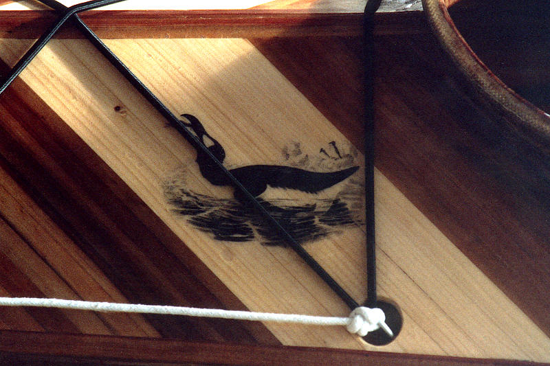 Great Auk logo on Geyrfugl's foredeck