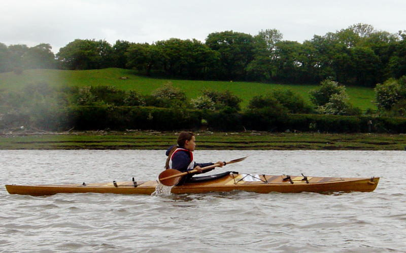 Heather Florence paddling Geyrfugl on the 2003 Conwy Ascent