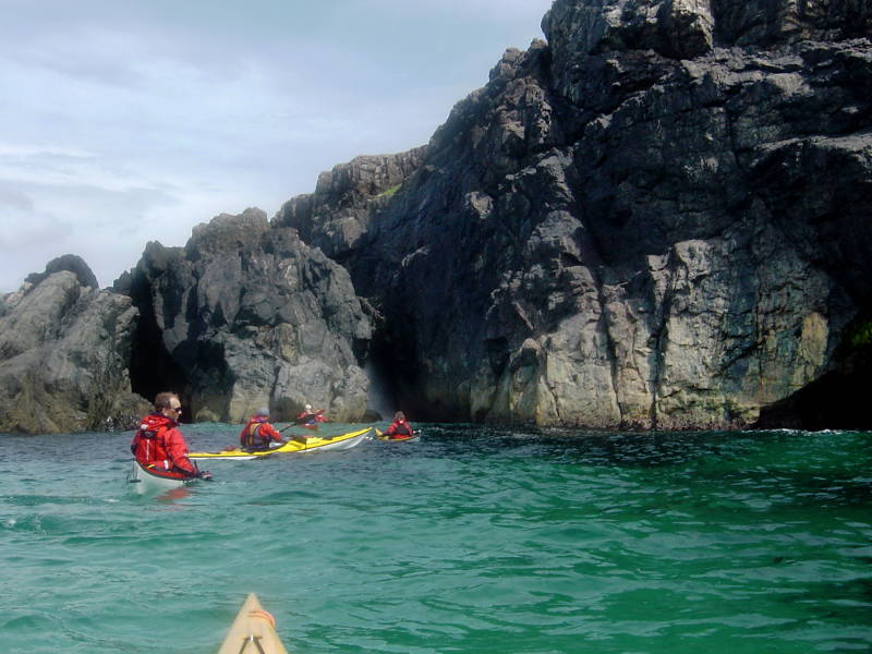Poking into caves on Iona