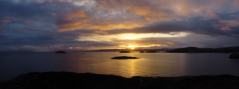 A classic Western Isles sunset over the scattered islands of the Sound of Sleat. Photo: Andy Waddington.