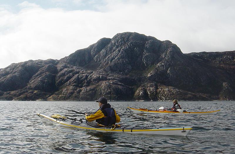 Nick and Kath Bulmer in Loch Nevis, looking across to Sgurr an Eilein Ghiubhais. Photo: Andy Waddington.