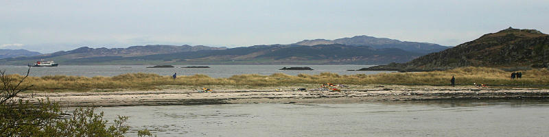 Camping on Gigha looking back to the mainland. Photo: Andy Waddington.