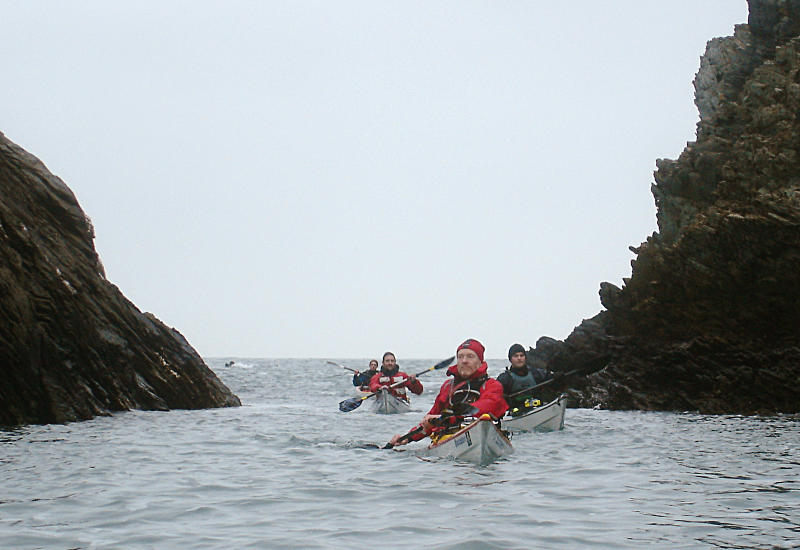 Paddling in to Trearddur Bay through skerries. Photo: Andy Waddington