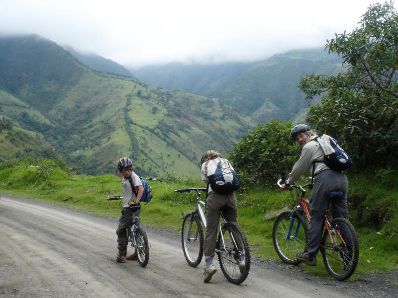 Mountain biking from above Quito down into the rainforest