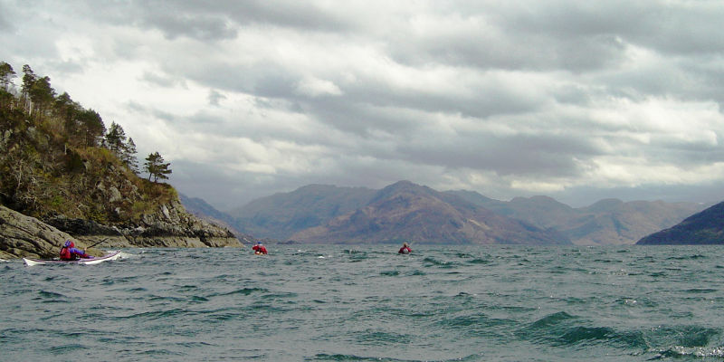 Paddling into Loch Hourn against headwind and choppy seas