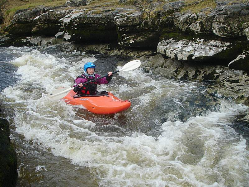 Mary in the channel, Ghaistrill's Strid. Photo: Andy Waddington.