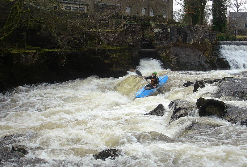 Neil on the first chute, Linton Falls. Photo: Andy Waddington.