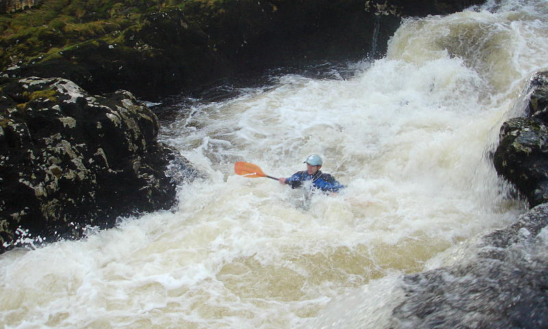 John, mid-channel, Linton Falls. Photo: Andy Waddington.