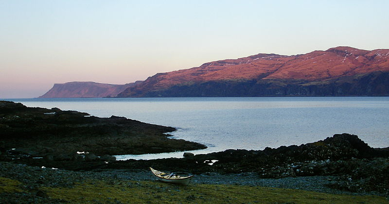 Looking from my tent in Loch Buie to Carsaig Arches and Malcolm's Point in the west. Photo credit: Andy Waddington.