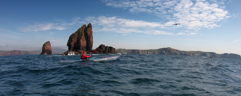 Clive paddling past the Drongs in a metre or two of swell